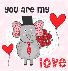 valentine elephant with bouquet flowers vector image