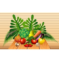 Vegetables and fruits on the table vector image