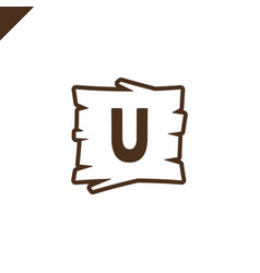 Wooden alphabet or font blocks with letter u in vector