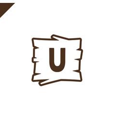 wooden alphabet or font blocks with letter u vector image
