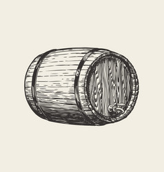 Wooden oak barrel wine whisky pub sketch hand vector