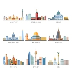 World Famous Cityscapes Flat Icons Collection vector