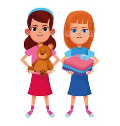 Young kids avatar carton character vector