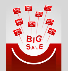 big sale red plates indicating percent discount vector image