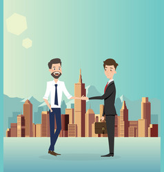 businessman handshake with city background vector image
