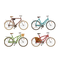 classic bike set icons retro bicycle cycle vector image