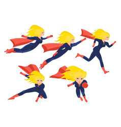 female superhero in different situations poses vector image