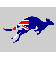 Flag of Australia with kangaroo vector image