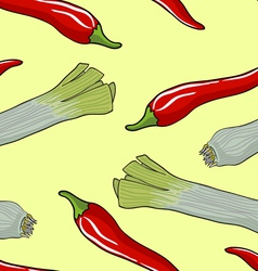 Leek Red Chili Pattern vector image vector image