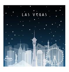 winter night in las vegas night city vector image