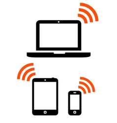 Wireless mobile devices set vector image vector image