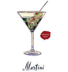 an olive martini cocktail with bubbles vector image vector image