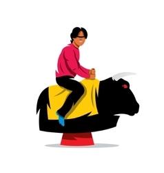 Bull Ride Cartoon vector image vector image
