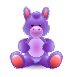 cute purple horse soft toy isolated on white vector image vector image