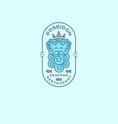 logo poseidon seafood restaurant emblem vector image