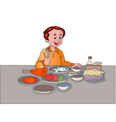 man feasting vector image vector image
