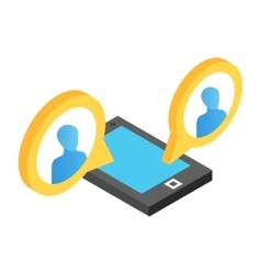 Mobile chat isometric 3d icon vector image