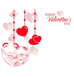 Valentine Frog Couple Hearts Background vector image vector image