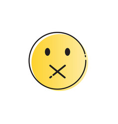 yellow cartoon face silent not speaking people vector image