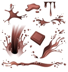 Chocolate splashes set vector image vector image