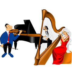 musical trio vector image vector image