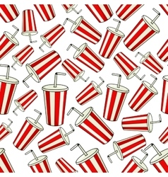 Seamless striped cups of soda pattern background vector image