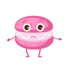 Sweets icon of isolated pink unhappy macaroon vector