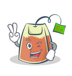 Two finger tea bag character cartoon vector
