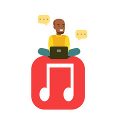 young black man sitting on a big mobile musical vector image vector image