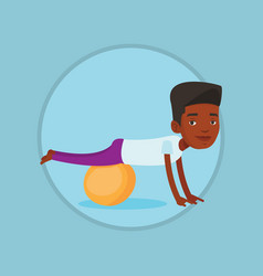 young man exercising with fitball vector image vector image