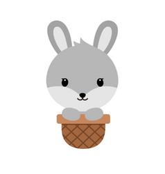 cute cartoon bunnysitting in easter basket funny vector image