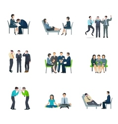 Mental health flat icons set vector image vector image