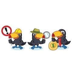 Toucan mascot with money vector