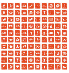 100 boxing icons set grunge orange vector image vector image