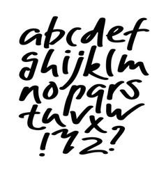 alphabet lettersblack handwritten font drawn vector image