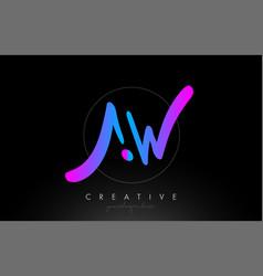 Aw artistic brush letter logo handwritten vector