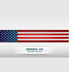 banner for memorial day american flag on gray vector image