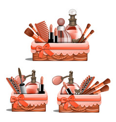 Basket with makeup brushes lipstick perfume vector