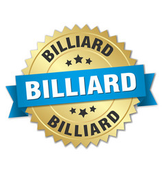 Billiard round isolated gold badge vector