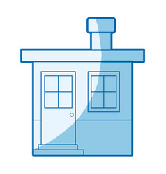 Blue shading silhouette of small house with vector