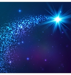 Blue shining star with dust tail vector image