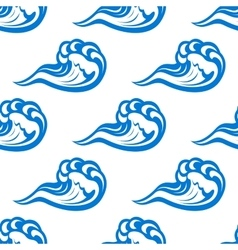 Blue waves seamless pattern on white vector