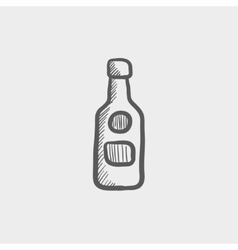 Bottle of whisky sketch icon vector