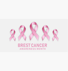 breast cancer concept banner realistic style vector image