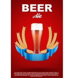 Brewery Label with red beer glass and malt vector
