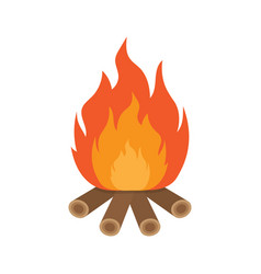 Burning bonfire with wood vector