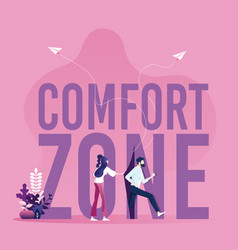 Businessmen running out comfort zone vector