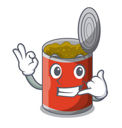 Call me canned food on the tablecloth cartoon vector