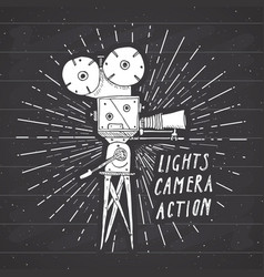 Camera vintage label hand drawn sketch grunge vector