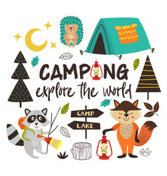 Camping animals explore world vector